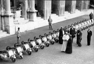 Picture shows the scene at St. Peter's Rome, when His Holiness Pope Pius XII blessed twenty new scooters whitch have been preented to the National Dutch Charity Organization by catholics of Turin. (As featured in Motor Cycle 23rd July 1953, page 113.)