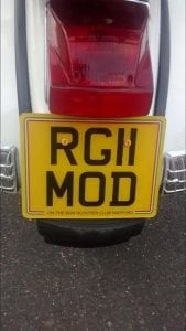 Ross Gorman's plate on his 2011 PX125 was a 50th birthday present from his girlfriend